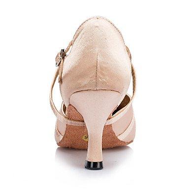 XIAMUO Anpassbare Damen Tanzschuhe Latin/Jazz/Modern/Swing Schuhe/Salsa/Samba Satin angepasste Ferse Schwarz/Pink, Pink, US 9.5-10/EU 41/ UK 7,5-8/CN 42