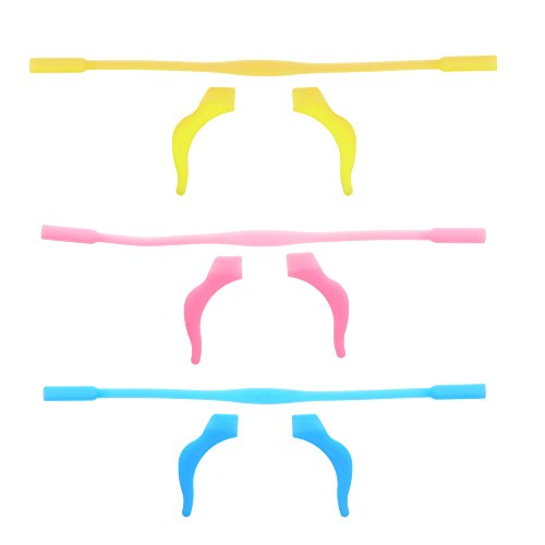 BCP Set of 3 Silicone Kid Children's Eyewear Glasses Neck Retainers Eyeglass Glasses Sunglasses Spectacle Head Safety Strap Cord Holder for Kids Children - Strap Head Sunglasses