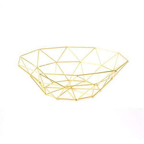 Miner Geometria Simple Plato de Fruta de Hierro Forjado Adornos Europeos creativos Hogar Sala de Estar Mesa de Comedor Plato de Fruta Almacenamiento, Oro