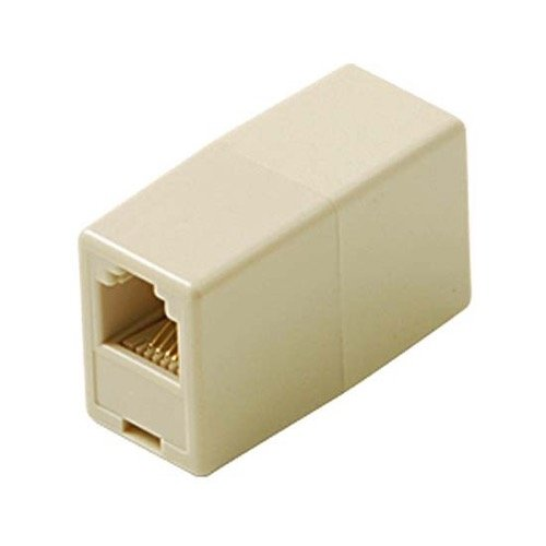 Handset Cord Coupler - In-Line Coupler 4 Conductor Ivory RJ11 Phone Female to Female Cord Extension Plug Connection Line Connector Cable Telephone Snap-In, Standard Splice Jack Add-On Fax Cable Wire Adapter