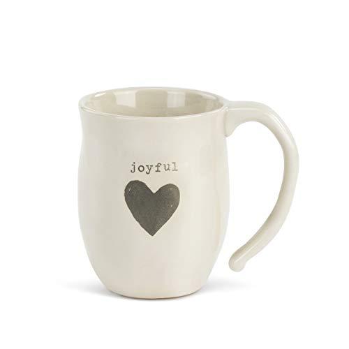 Joyful Heart Grey Cream 12 ounce Ceramic Stoneware Inspirational Coffee Mug