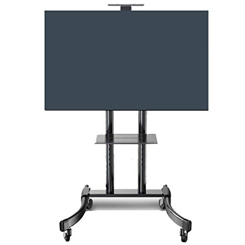 32 to 65 Inch Mobile TV Cart Universal Flat Screen Rolling TV Stand Trolley Console Stand for LED LCD Plasma Flat Panels on Wheels (Color : Black)