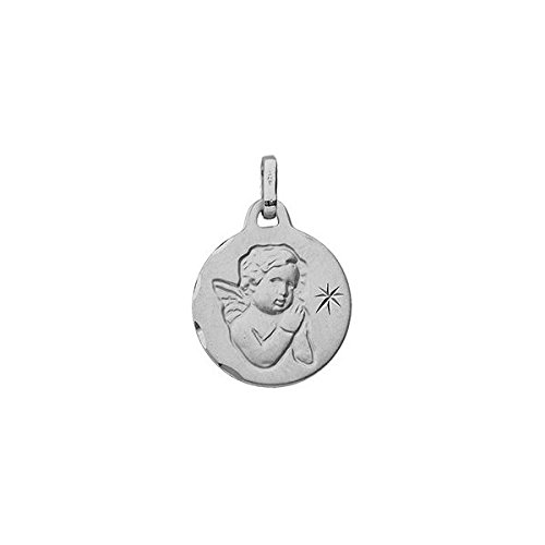 DIAMANTLY Medaille en or 375 or gris ange ronde satine etoile diamant