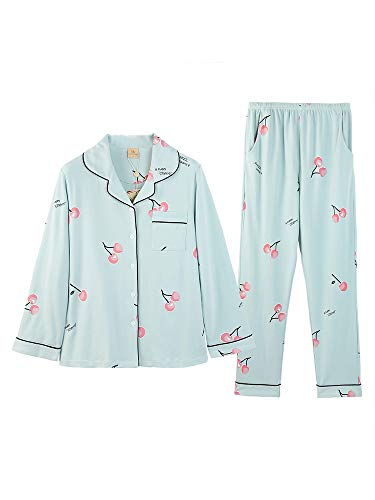 Pijama Baujuxing S Cárdigan Algodón 100 Mujer Cuello Estampado Xl V De En Doméstico Pijamas Larga Algodón Servicio Manga Con Hogar ffBq5A