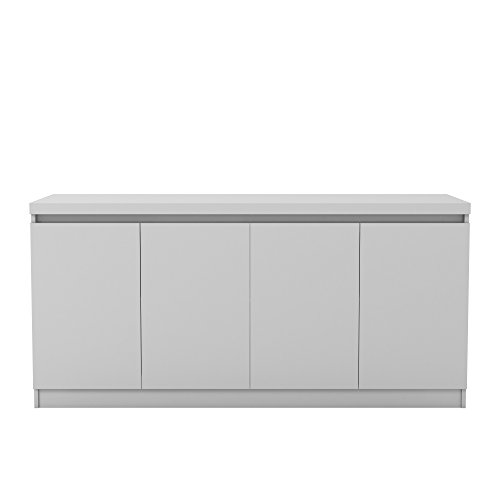 Manhattan Comfort Viennese Collection 6 Shelf Gloss Finished Long Buffet Cabinet / Dining Console with 4 Doors, White Gloss