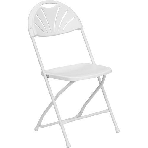 Flash Furniture HERCULES Series 800 lb. Capacity White Plastic Fan Back Folding Chair by Flash Furniture