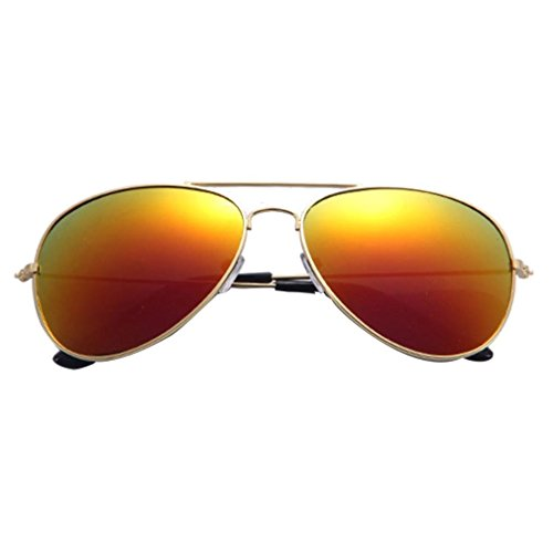 del Gusspower rojo Oro Gafas Espejo Lente Sol Marco Metal Clásico de de Aviador q6XqCF