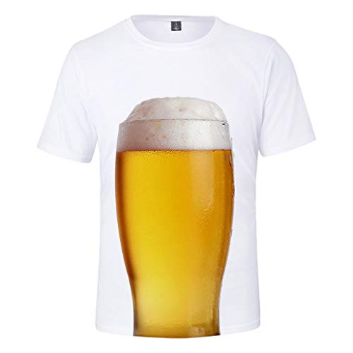 (TANGSen_Mens Casual Summer Beer Festival Tops Short Sleeve Plus Size 3D Printing Round Neck Tops Blouse White)