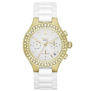DKNY Chambers Large Ceramic Gold-Tone Chronograph with Glitz Women's watch #NY2224