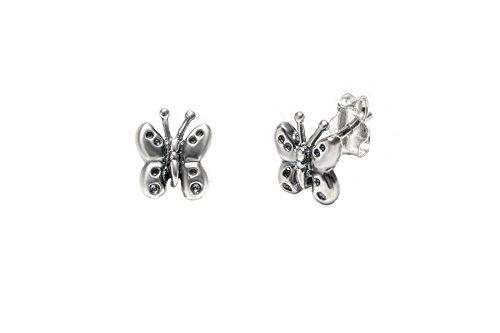 Pori Jewelers Sterling Silver Butterfly Oxidized Stud Earrings (Oxidized Butterfly Earrings)