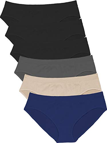 Areke Womens Bikini Panties Seamless Underwear, Soft Stretch Cheekini Hipster Briefs 6 Pack (Dark Assorted S) ()