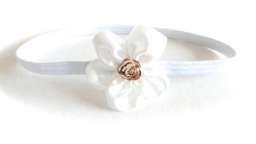 Réf056 BAN.210 - Accessoires Cheveux Enfant - Headband Bébé Blanc - Fleur Satin et Métal Dorée