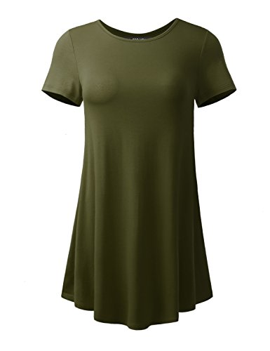 ALL FOR YOU Women's Short Sleeve Round Neck Flare Tunic Dark Olive Large