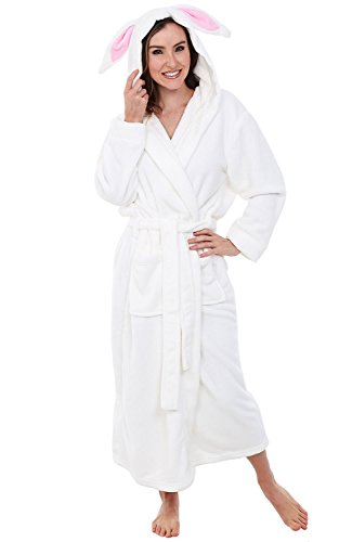 Alexander Del Rossa Womens Fleece Robe, Long Hooded Bathrobe, Small Medium Rabbit ()