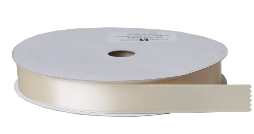 Jillson Roberts Bulk 1-Inch Double Faced Satin Ribbon Available in 20 Colors, Ivory, 100 Yard Spool (BFR1019)