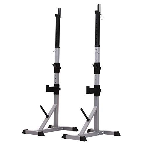 Soozier 2-Piece Pair Steel Height Adjustable Barbell Squat Rack and Bench Press