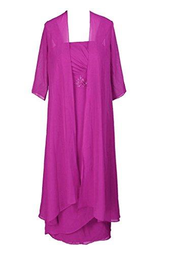 Fuchsie Mutter HWAN Tee L Abendkleid Jacke nge mit der Schultergurte Braut 1qvgIq