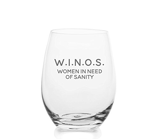 W.I.N.O.S. Women In Need Of Sanity – Cute Funny Stemless Wine Glass, Large 16 Ounce Size, Etched Sayings, Gift Box (Best Wines As Gifts)