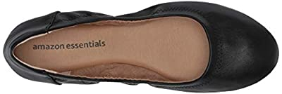 Amazon Essentials Women's Ballet Flat, Black, 9 B US
