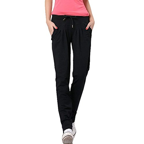 Tasche Cute Libero Pantalone Jogging Donna Slim Giovane Due Sportivi Chic Tempo Nero Casual Dei Monocromo Con Eleganti Fit Pantaloni Moda Coulisse 7Updv1U