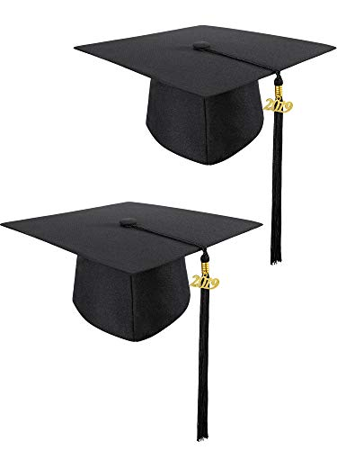 2 Pieces Unisex Adult Matte Adjustable Graduation Gown Cap with Tassel 2019 for High School and Bachelor (Black)]()