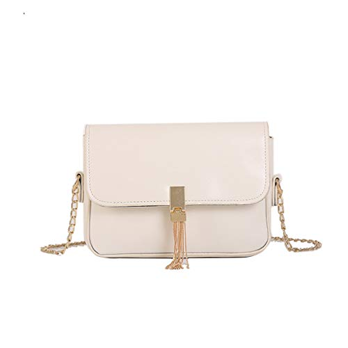 Bsjmlxg Women Pure Color Tassel Wild Messenger Bag Fashion One-Shoulder Small Square Bag Hand Bag ()