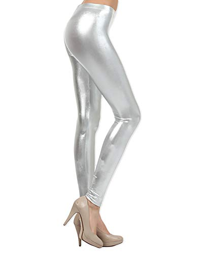 Neon Nation LLC Shiny Metallic Full Length Leggings Tights Costume Pants (Large, -