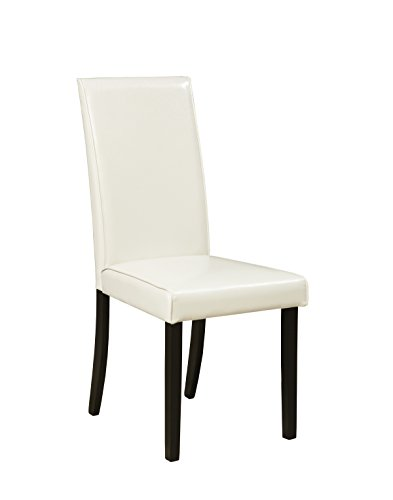 Cheap Kimonic Dining Ivory faux leather Side Chairs, Set of 2
