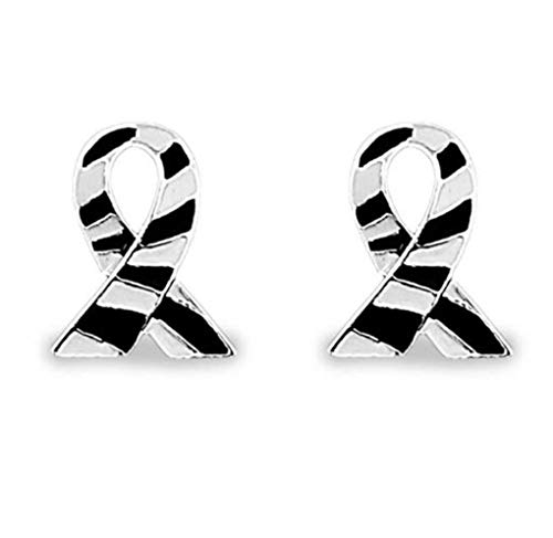 (2 Zebra Print Ribbon Lapel Pins in a Bag (2 Pins - Retail) Sterling Silver Plated His and Hers)