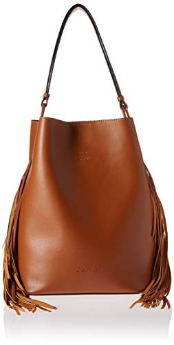 Calvin Klein Gemmy Calf PU Fringe Slouchy Novelty Bucket Shoulder Bag, luggage