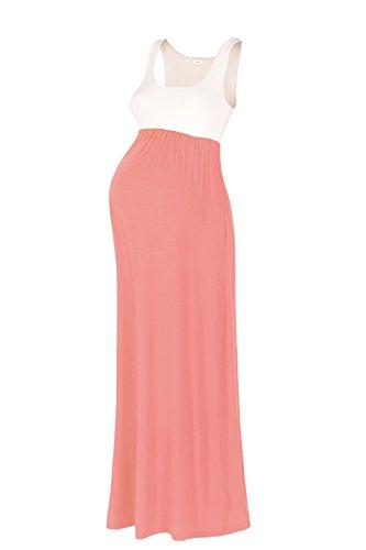 Beachcoco Women's Maternity Contrast Maxi Tank Dress (M, Ivory /