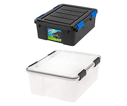 Ziploc 26.5-Quart Small WeatherShield Storage Box, 1-Count, Black Bundle with IRIS 30 Qt./7.5-Gallon Weathertight Storage Box, Clear, Single