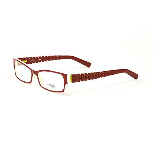 2c32114926e J.F. Rey Rectangular Eyeglass Frames 55mm Redhite Green Citrus