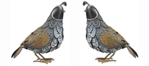 Quail Handcrafted Metal Garden Statuary (set of 2) For Sale
