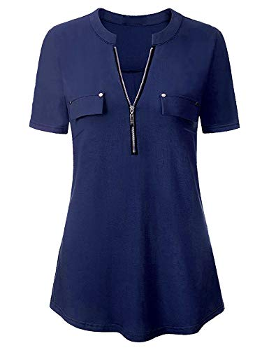 Sleeve Pencil Shirt Short Work (FISOUL Short Sleeve Top Casual Notch-V Neck Roll-up Sleeve Zip up Blouse for Women)