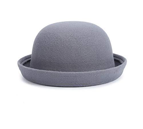 HiiWorld Retail Little Girls Fedora hat Dome Cap Children Dress Hats Kids caps Felt Hats Wool Felting Bowler hat