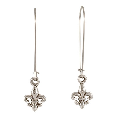 Sabai NYC Silvertone City of Light Paris Long Charm Earrings on Kidney Earwires (Fleur de Lis)