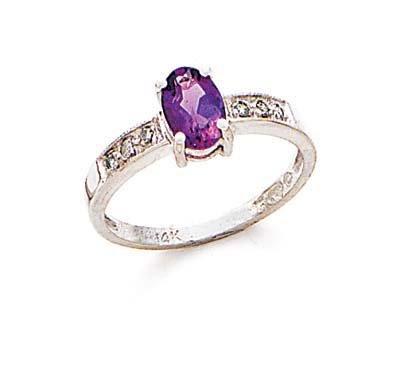 Blanc 14 carats avec améthyste et diamants bruts N-Taille 1/2-JewelryWeb