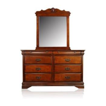 furniture of america laurelle 2 piece dresser and mirror set dark oak finish. Black Bedroom Furniture Sets. Home Design Ideas