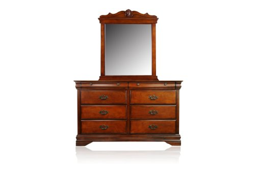 Furniture of America Laurelle 2-Piece Dresser and Mirror Set, Dark Oak Finish (Dark Oak Mirror)