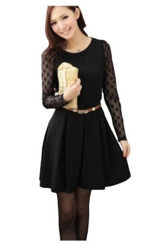 Fashion Knee Polka Dots CA Length Black Tulle Sleeve Dress Women's Long Axd7PTq