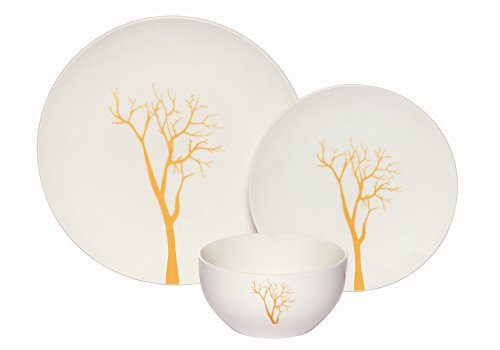 - Melange Coupe 18-Piece Porcelain Dinnerware Set ( Gold Tree Collection) | Service for 6 | Microwave, Dishwasher & Oven Safe | Dinner Plate, Salad Plate, Soup Bowl (6 Each)