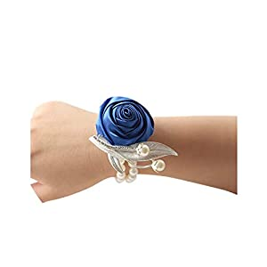 Artificial Rose Wrist Corsage Bracelet Silk Rose Flower Bridesmaid Hand Flowers with Pearl Wedding Party Decoration, show1 78