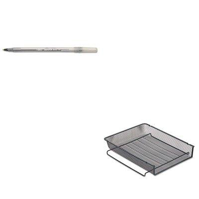 Rolodex Mesh Stackable - KITBICGSM11BKROL22211ELD - Value Kit - Rolodex Mesh Stackable Front Load Letter Tray (ROL22211ELD) and BIC Round Stic Ballpoint Stick Pen (BICGSM11BK)