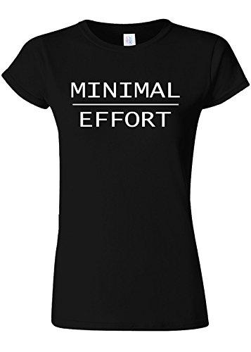 悪性蓮倍増Minimal Effort Lazy Person Novelty Black Women T Shirt Top-L