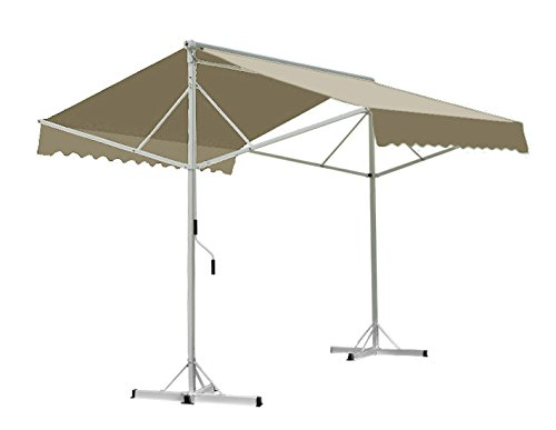 Awntech 10-Feet Richmond Free Standing Double Sided Manual Retractable Awning, 10 by 16-Feet, Linen