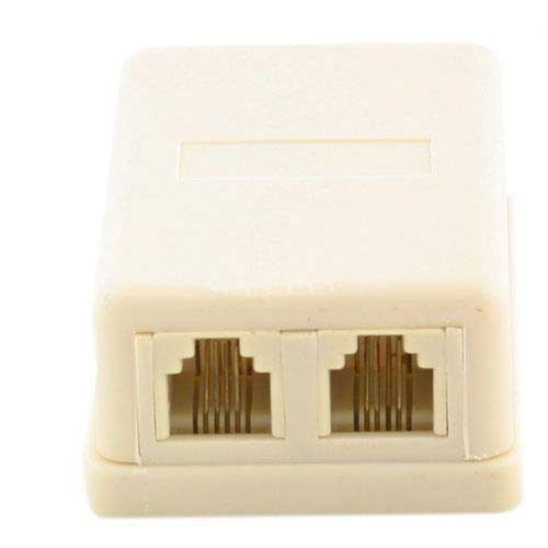 4C RJ11 Beige Dual Telephone Surface Wall Mount Phone Jacks Outlet