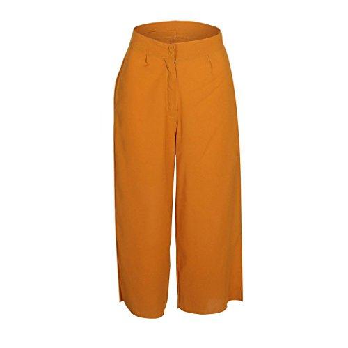 mollet Haute Femmes Recadrée Solide Jambe Taille Pantalon Lâche 3 Large Mi Mengonee 6wxqOUaO