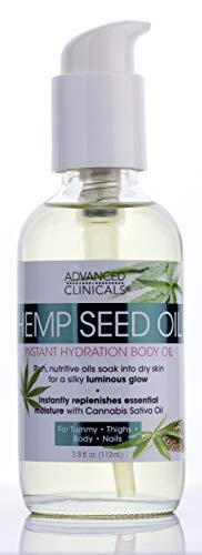 Advanced Clinicals Hemp Seed Oil for Body Moisturizing, Non-Greasy Hemp Oil for Sensitive, Oily, and Dry Skin Nourishing, Hydrating, Firming Premium Hemp Seed Oil for Brighter, Tighter Skin, 3.8 oz.