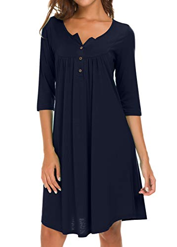 AMCLOS Womens V Neck Dress Casual Swing Simple Ruffle Button up Loose Dresses 3/4 Sleeve Long Sleeve (X-Large, Long-Navy Blue)